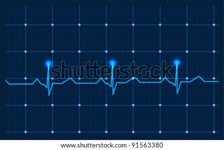 Heart and EKG from red ribbon - stock vector