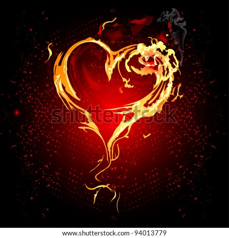 Heart and fire, love and space - stock vector