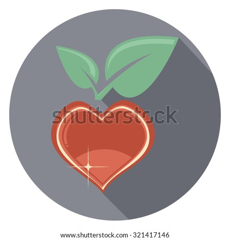 heart and leaf flat icon in circle - stock vector
