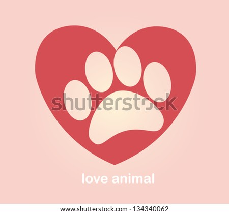 Heart and paw. illustration vector - stock vector