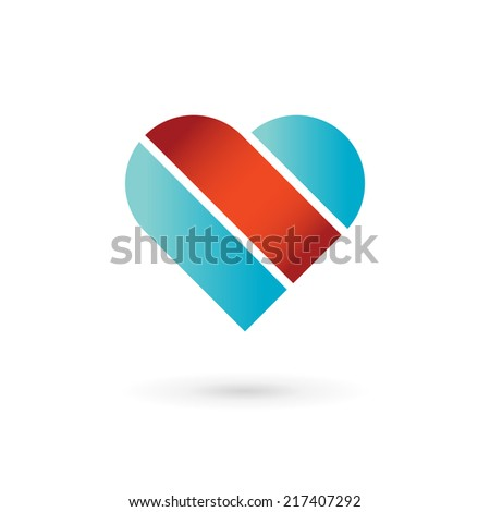 Heart and ribbon symbol logo icon design template elements. May be used in medical, dating, Valentines Day and wedding design. - stock vector