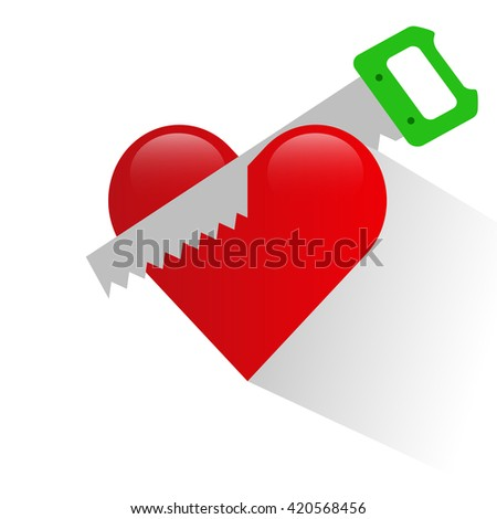 Heart and saw icon. Heart and saw on a white background. Heart and saw the symbol. Vector illustration. - stock vector