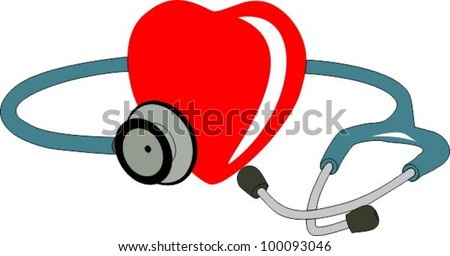 Heart and stethoscope - stock vector