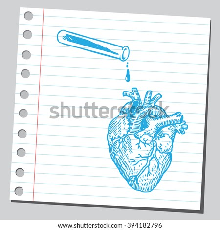 Heart and test tube - stock vector