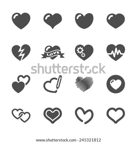 heart and valentine day icon set, vector eps10. - stock vector