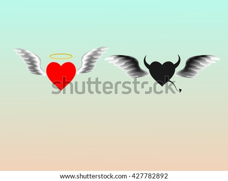Heart Angels and Demons vector design