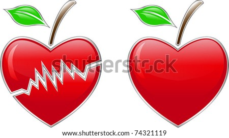 heart- apple - stock vector