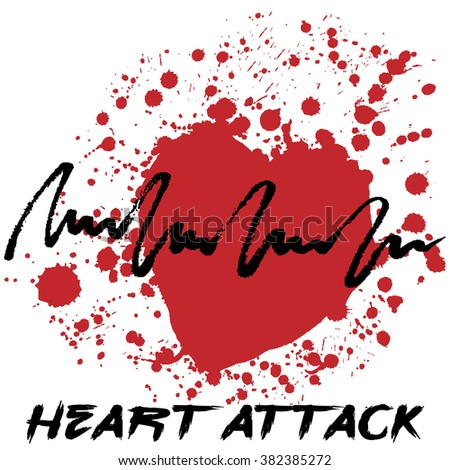 Heart attack logotype. Creative hand drawn logo with splashes in shape of red heart symbolizing heart attack. Stylized heart attack creative cardiology logo. Isolated on white. Vector illustration - stock vector