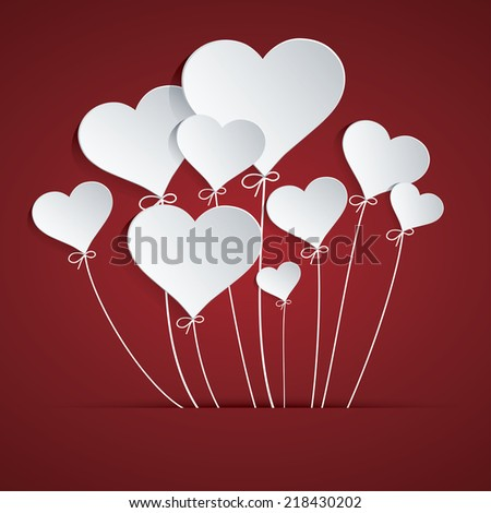Heart Balloon Easy to use, modify, adjust color and size. Shadow are made with transparency set to Multiply. - stock vector