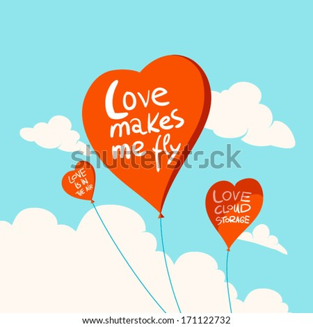 Heart balloons in the sky A funny valentine flying hearts  - stock vector