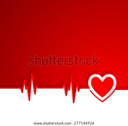 Heart beat cardiogram with heart shape - stock vector