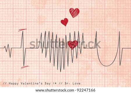 Heart beat. Greeting card Valentine's Day - stock vector