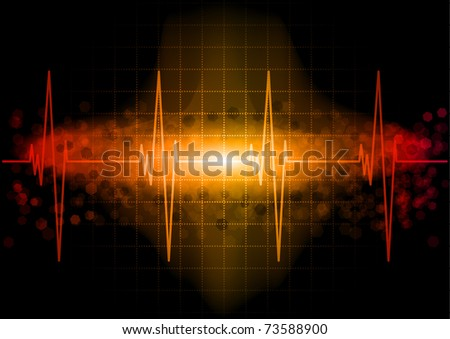 Heart beat monitor in the dark - stock vector