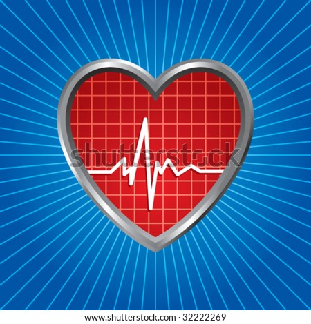 heart beat on blue starburst - stock vector