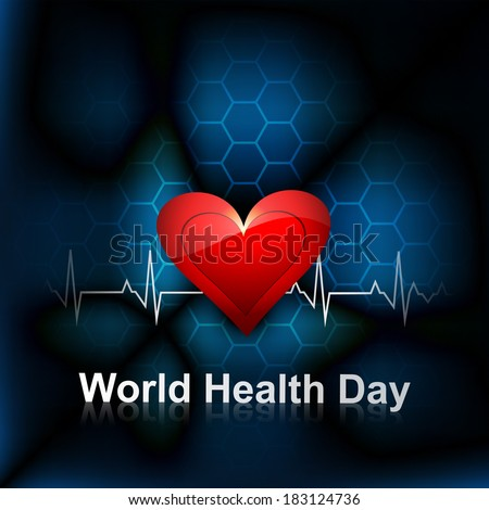Heart beats medical concept world health day bright colorful background