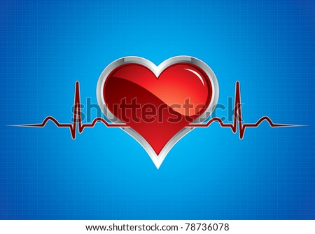 Heart beats vector illustration.Steel style medical button