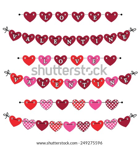 Heart bunting banner or flags with the words love and valentine written on them - stock vector