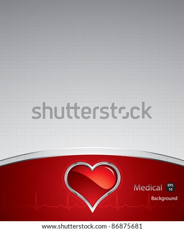 Heart button on silver medical background.Steel style button - stock vector