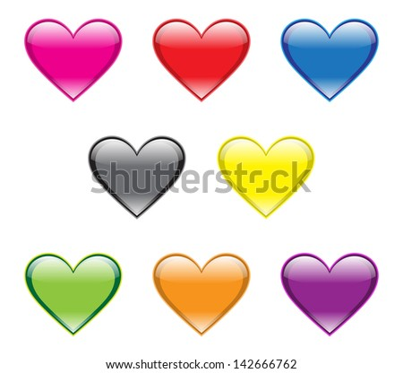 Heart Buttons - stock vector