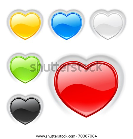 Heart (buttons) multicolor icons set. Valentine. Vector - stock vector