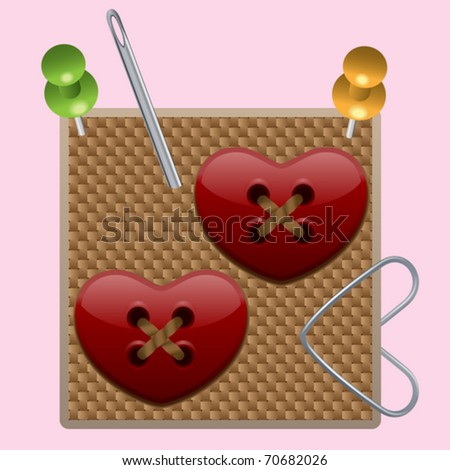 Heart buttons (Vector Illustration for web design) - stock vector