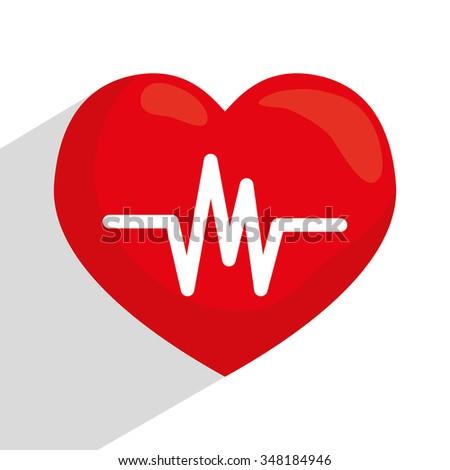 Heart cardio graphic design, vector illustration eps10 - stock vector