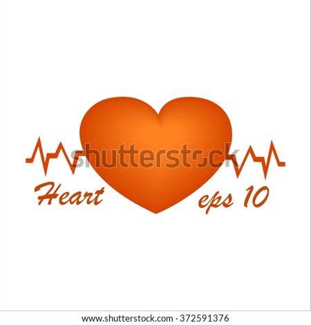 Heart cardiogram. A red heart eps. 3D heart. - stock vector