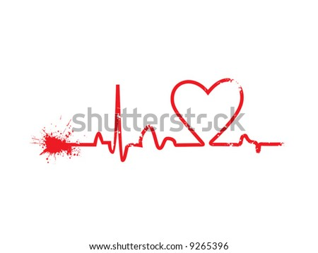 Heart cardiogram with grunge effect vector illustration