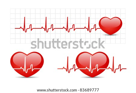 Heart cardiogram with heart - stock vector