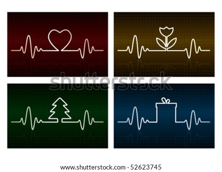 Heart cardiogram with heart, flower, tree and gift box on it - stock vector