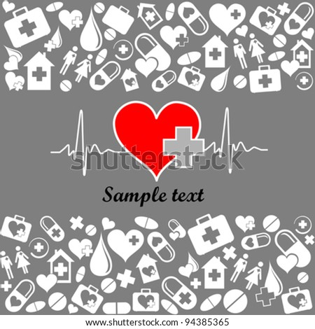 Heart cardiogram with heart. Medicine vector seamless pattern. Vector Illustration