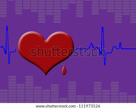 Heart cardiogram with heart, red blood drop and  equalizer, vector illustration