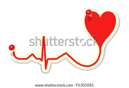 Heart cardiogram with red pin