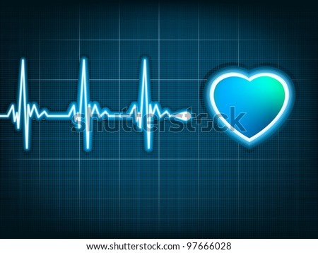 Heart cardiogram with shadow on it deep blue. EPS 8 vector file included - stock vector