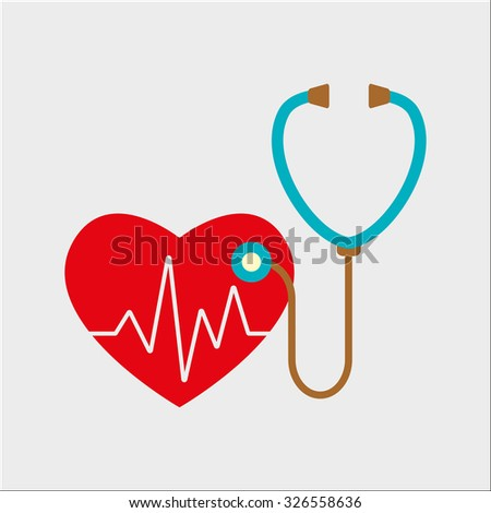 Heart care icon. Stethoscope and heart with cardiogram. Cardiology symbol. Colorful vector illustration.
