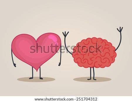 Heart character & Brain character - stock vector