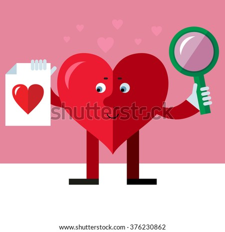 Heart character with magnifier glass and heart icon. Online Dating. Flat style vector illustration on pink background. Valentine day greeting card. love symbol