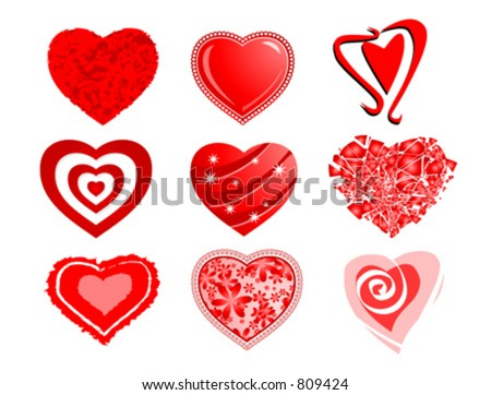 Heart cliparts - stock vector
