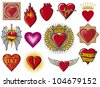 heart collection (hearts set, flaming heart, heart in flame, heart with wings, broken heart, colorful heart with ornamental pattern, just married heart design, sword and heart, heart beats) - stock photo