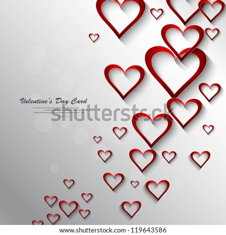 Heart colorful shape shiny Valentine day whit background Vector - stock vector