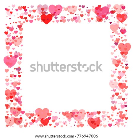 Heart Confetti Frame Or Border, Background For Valentineu0027s Day, Isolated On  White, Vector
