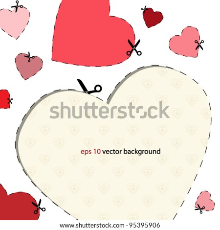 Heart cut from sheet of paper - stock vector