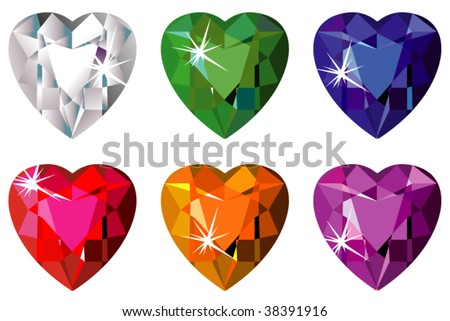 Heart cut precious stones with sparkle - stock vector