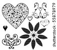 heart design elements - stock vector