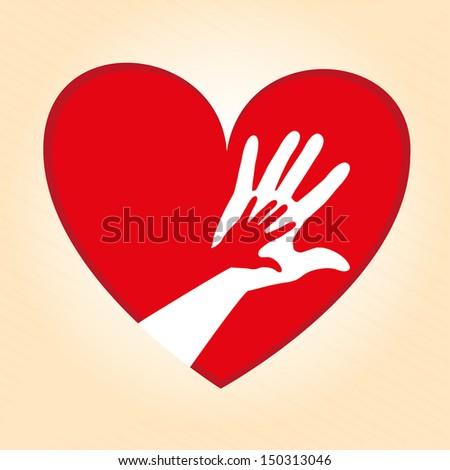 heart design over cream background vector illustration  - stock vector