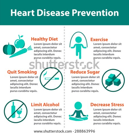 Heart disease prevention infographics for for medical. Isolated icon and object