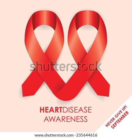 heart disease ribbon - stock vector