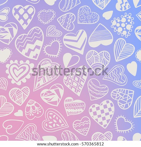 Heart doodles seamless vector pattern. Hand drawn Valentines day backdrop.