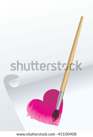 heart  draw with brush vector image - stock vector