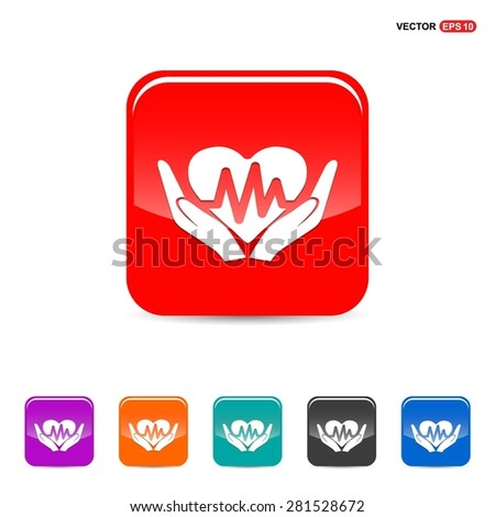 heart ecg in hand icon Icon - abstract logo type icon - red, orange, turquoise, black and blue 3d button background. Vector illustration - stock vector